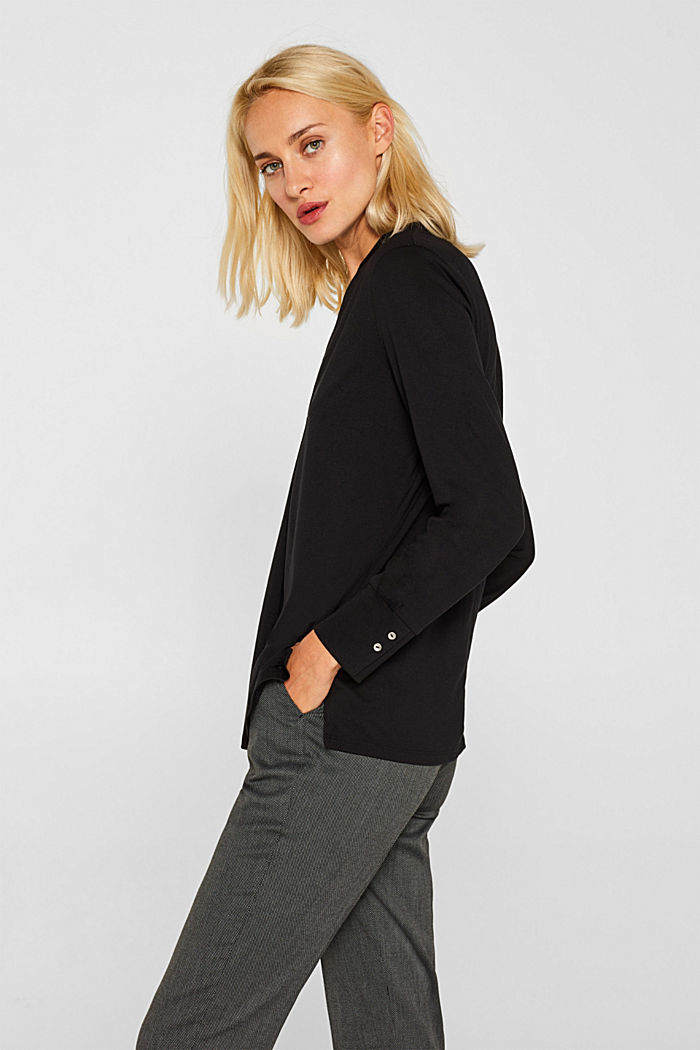Long sleeve top in a blouse style, blended lyocell, BLACK, detail image number 5