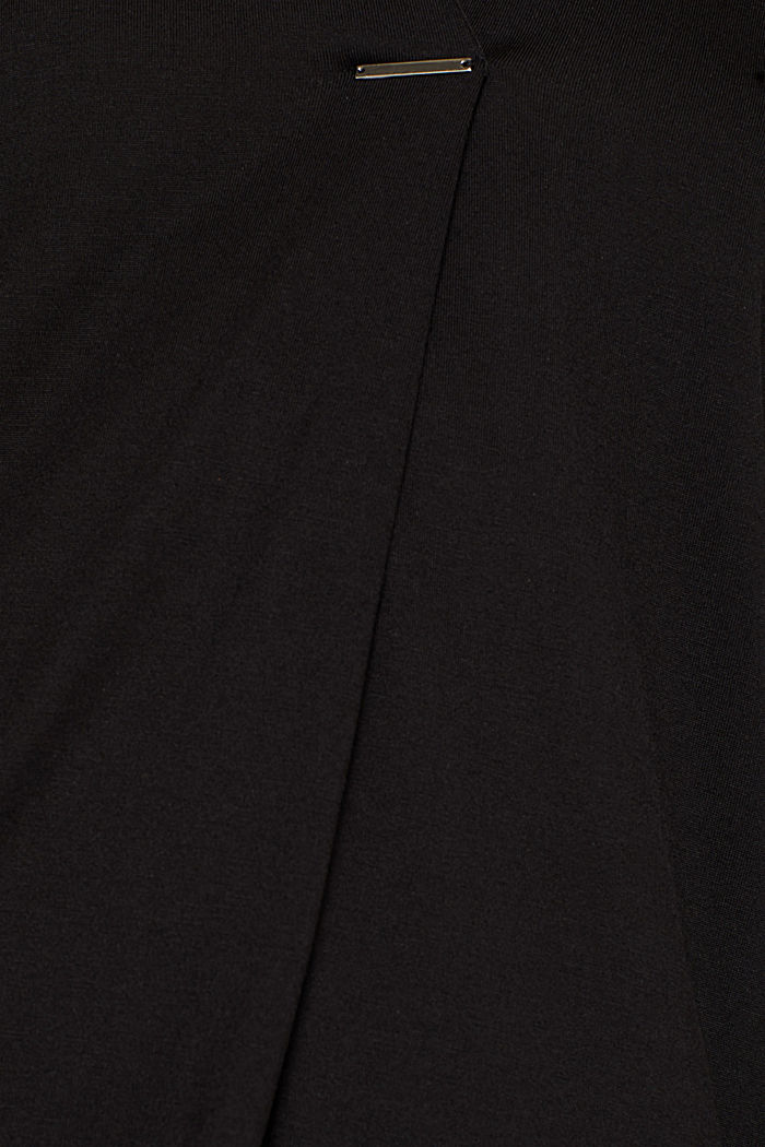 Long sleeve top in a blouse style, blended lyocell, BLACK, detail image number 4