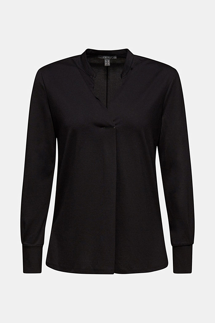 Long sleeve top in a blouse style, blended lyocell, BLACK, detail image number 6