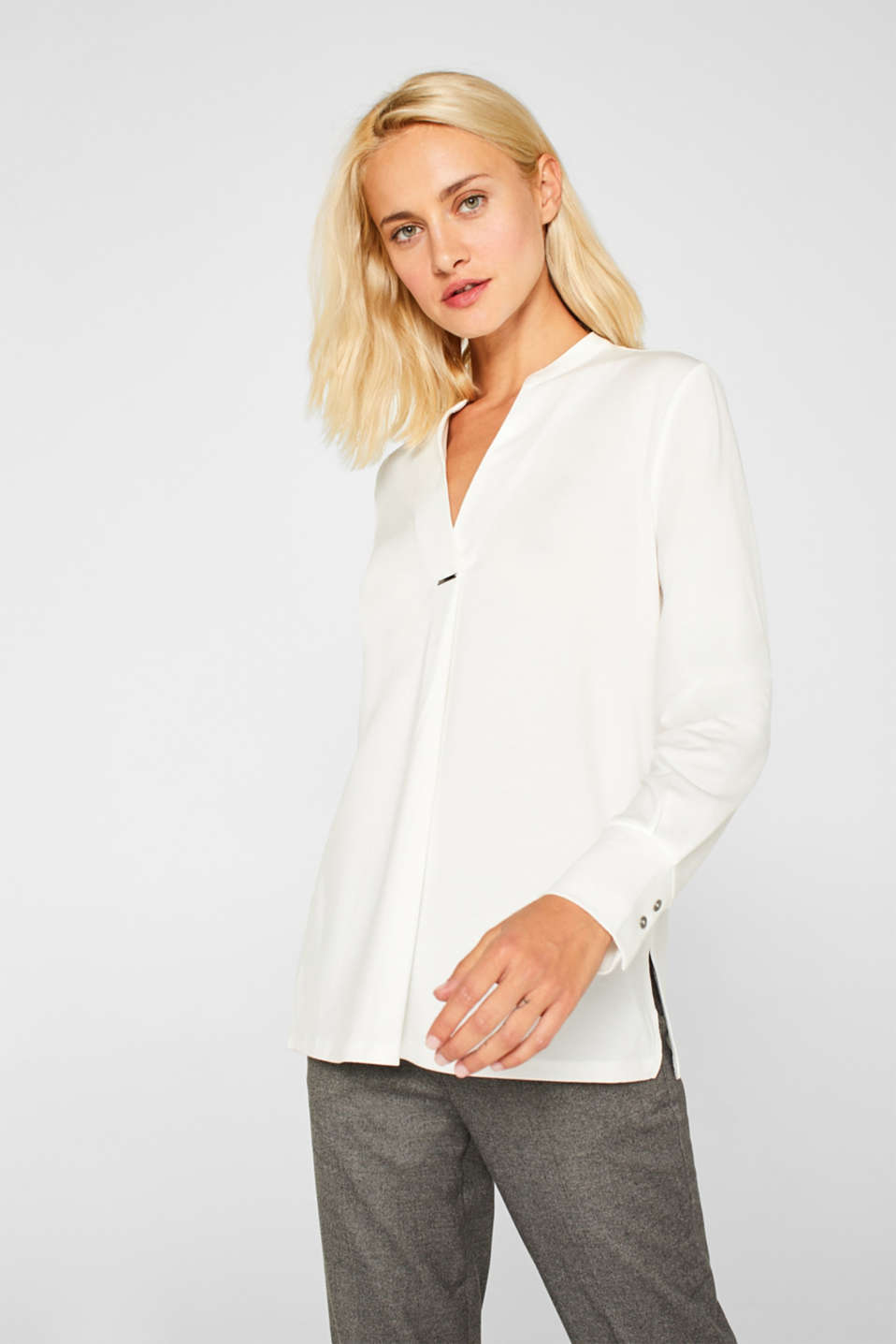 Long sleeve top in a blouse style, blended lyocell, OFF WHITE, detail image number 0