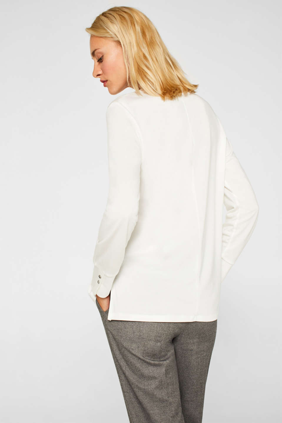 Long sleeve top in a blouse style, blended lyocell, OFF WHITE, detail image number 3