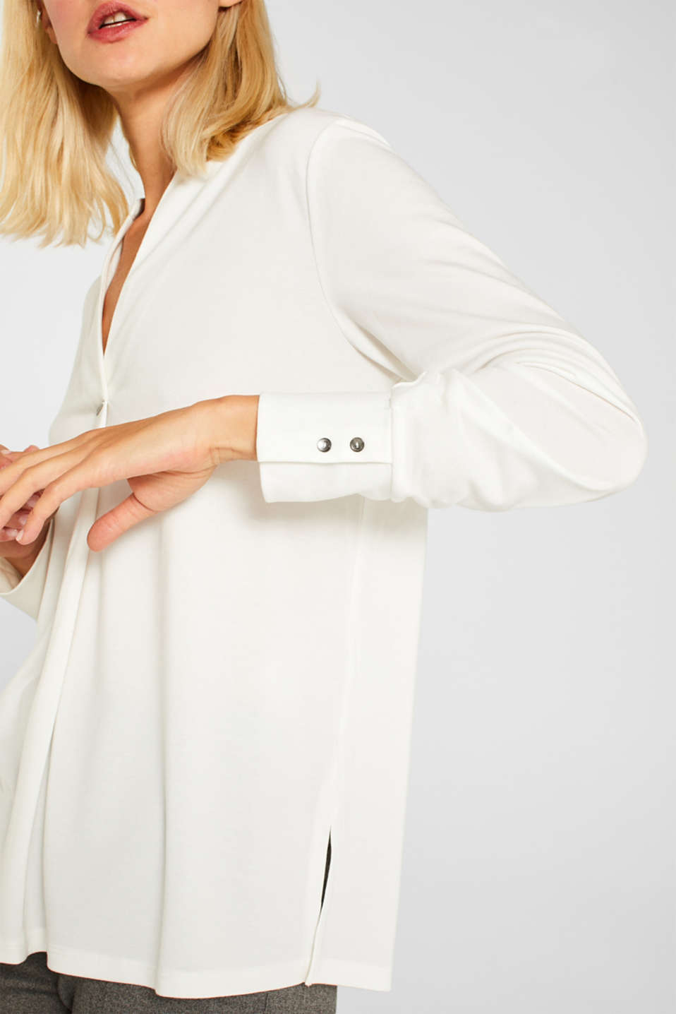 Long sleeve top in a blouse style, blended lyocell, OFF WHITE, detail image number 2