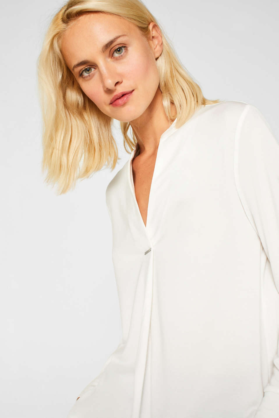 Long sleeve top in a blouse style, blended lyocell, OFF WHITE, detail image number 5