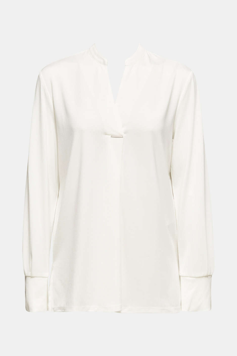Long sleeve top in a blouse style, blended lyocell, OFF WHITE, detail image number 6