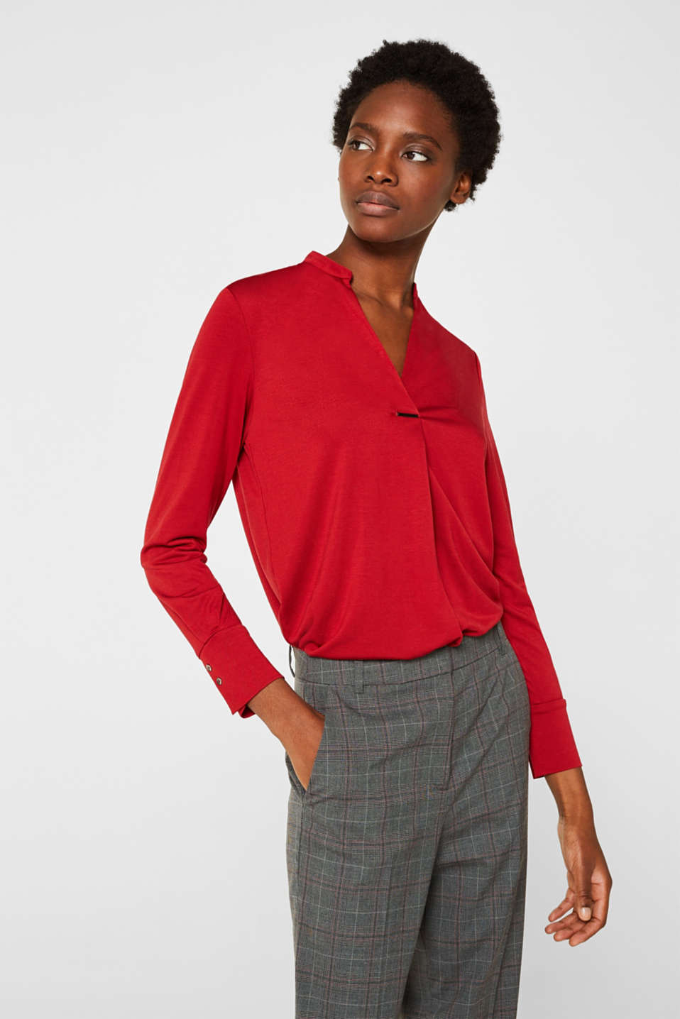 Long sleeve top in a blouse style, blended lyocell, DARK RED, detail image number 0