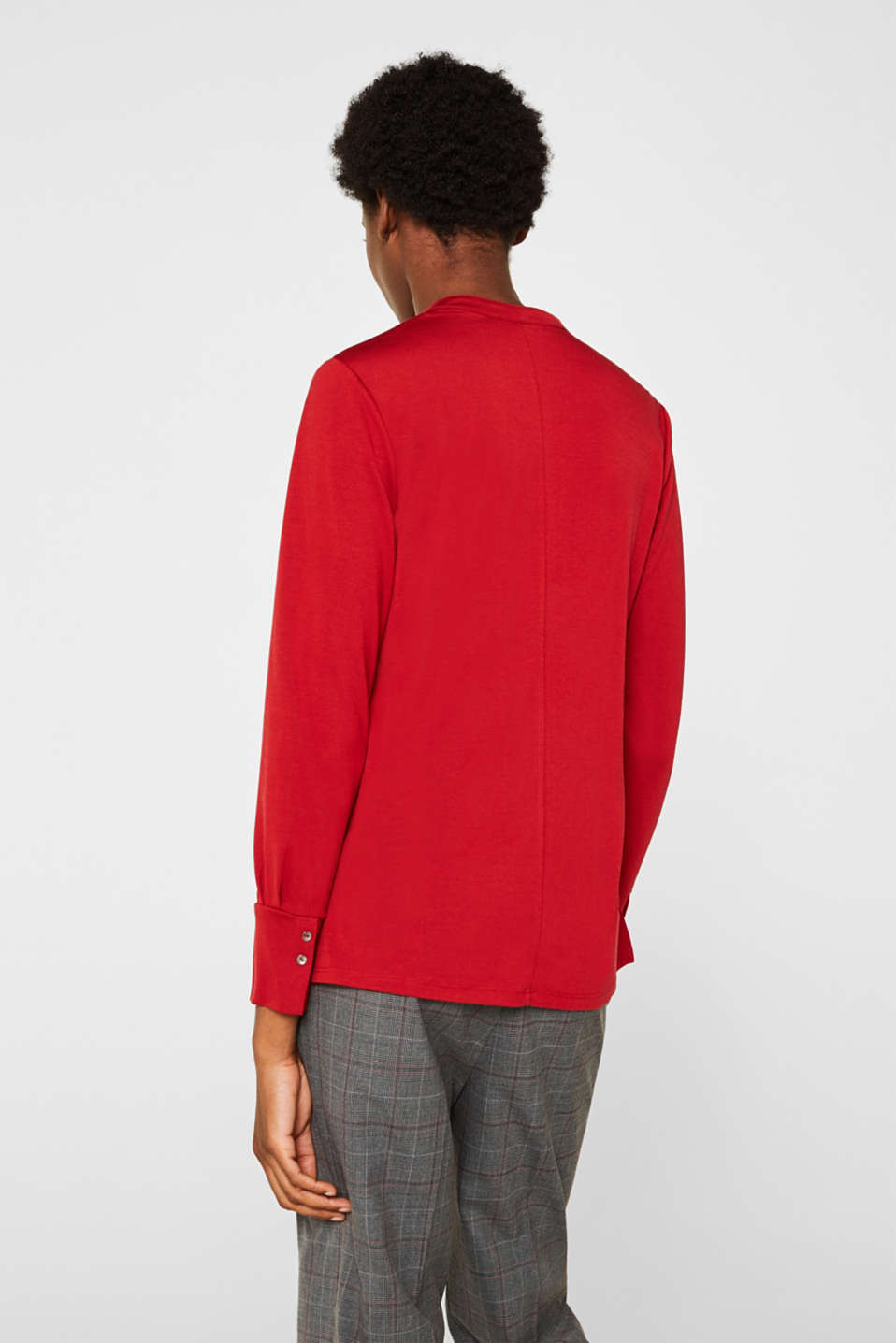 Long sleeve top in a blouse style, blended lyocell, DARK RED, detail image number 3