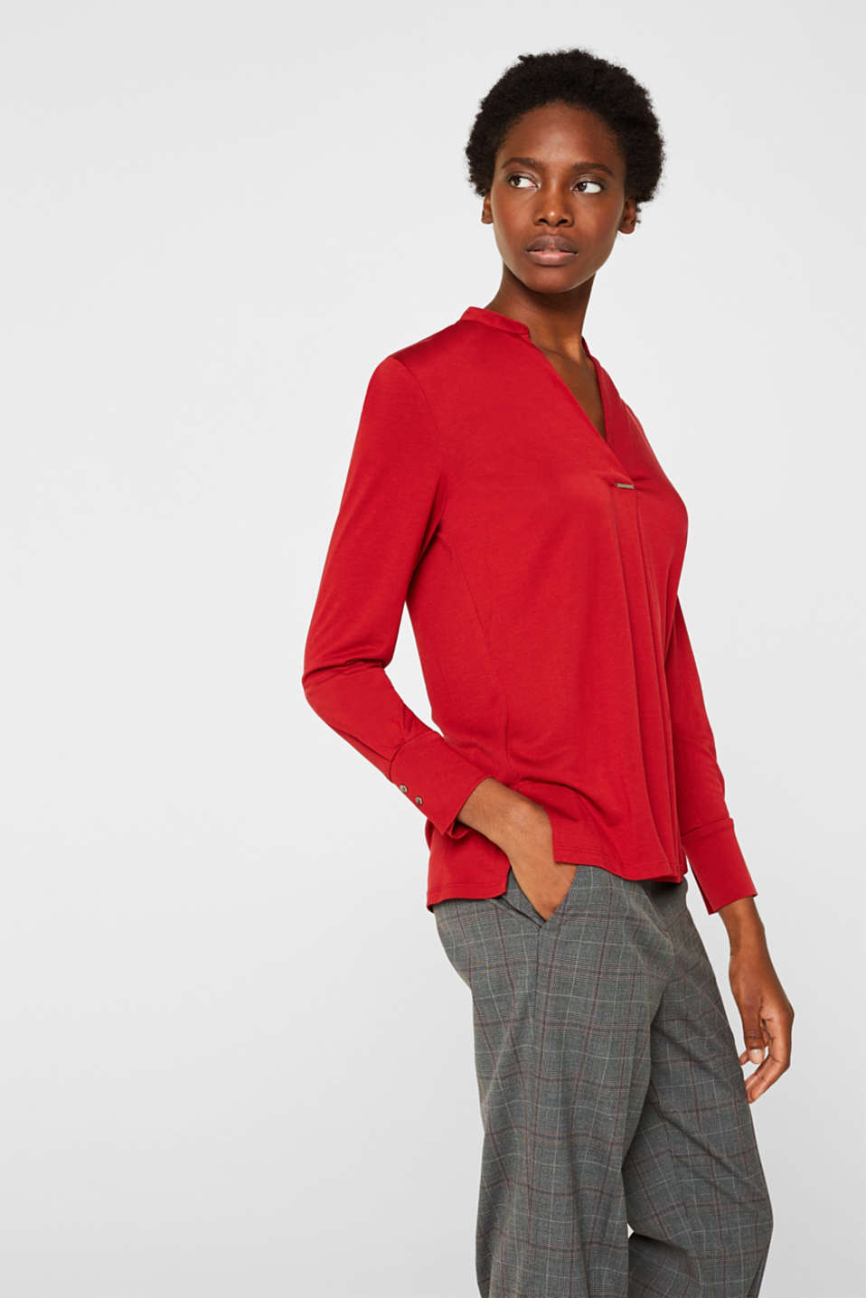 Long sleeve top in a blouse style, blended lyocell, DARK RED, detail image number 5