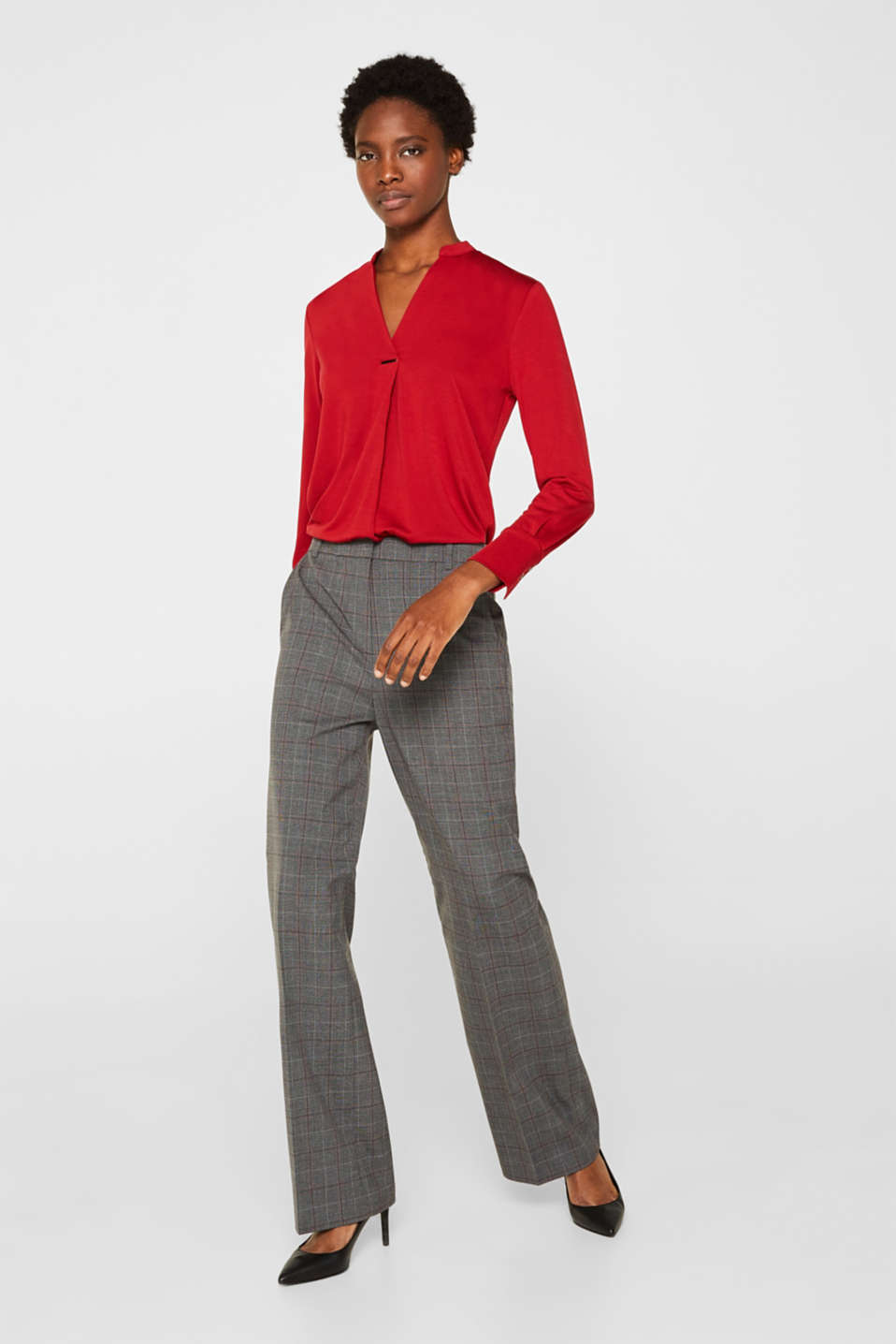 Long sleeve top in a blouse style, blended lyocell, DARK RED, detail image number 6