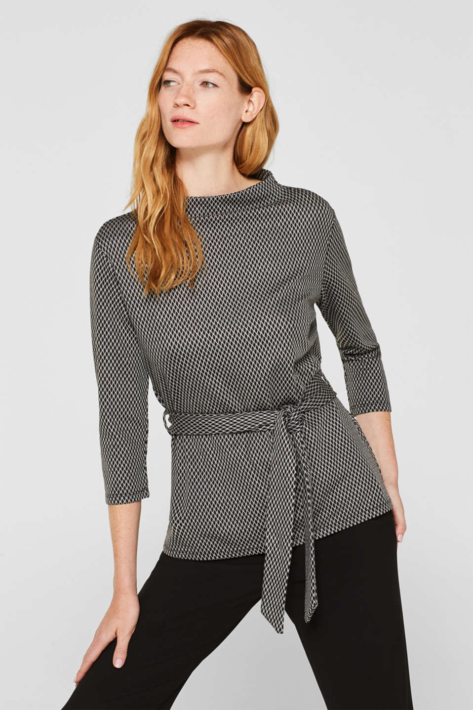 Esprit - Patterned stretch T-shirt with a tie-around belt
