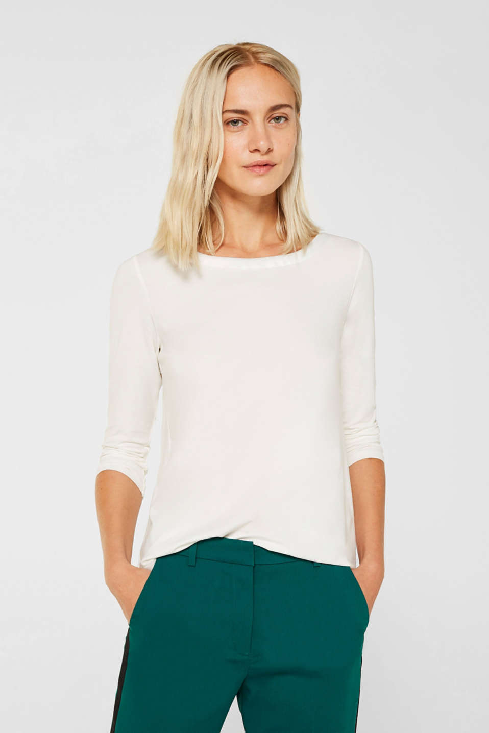 Esprit - Stretch tee with a satin neck trim