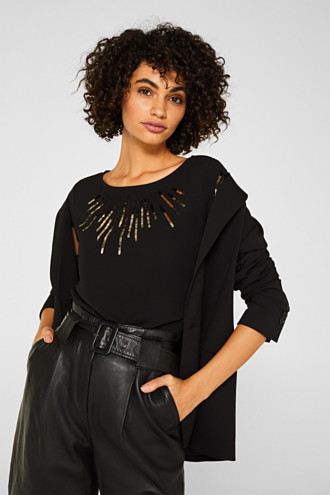 Material mix top with sequins