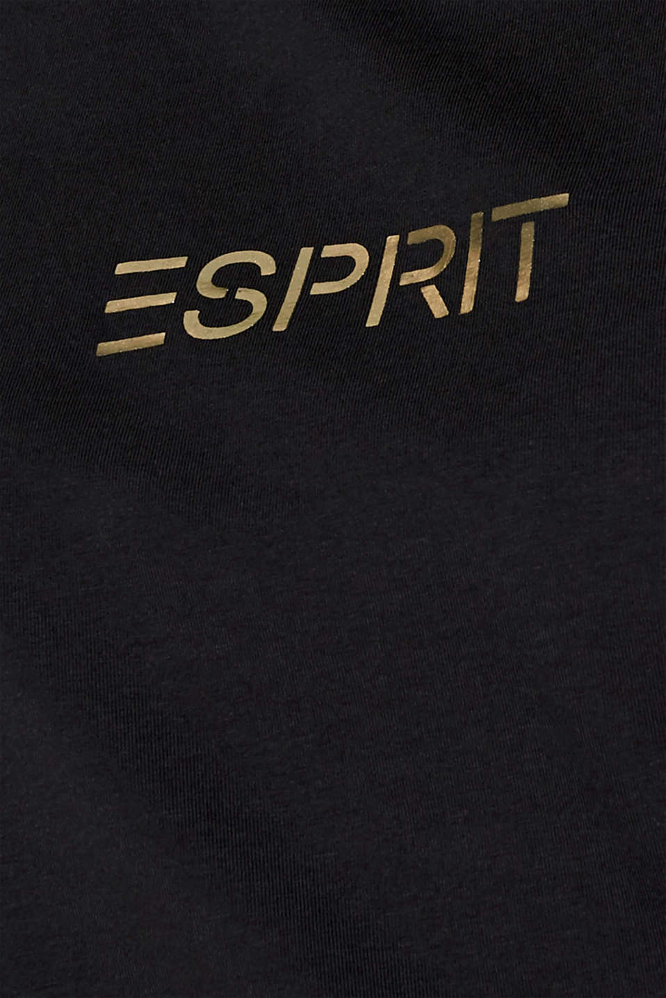 T-shirt with a shiny logo, stretch cotton, BLACK, detail image number 4