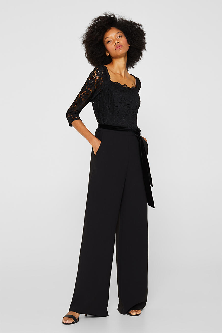 Wide leg jumpsuit with lace top
