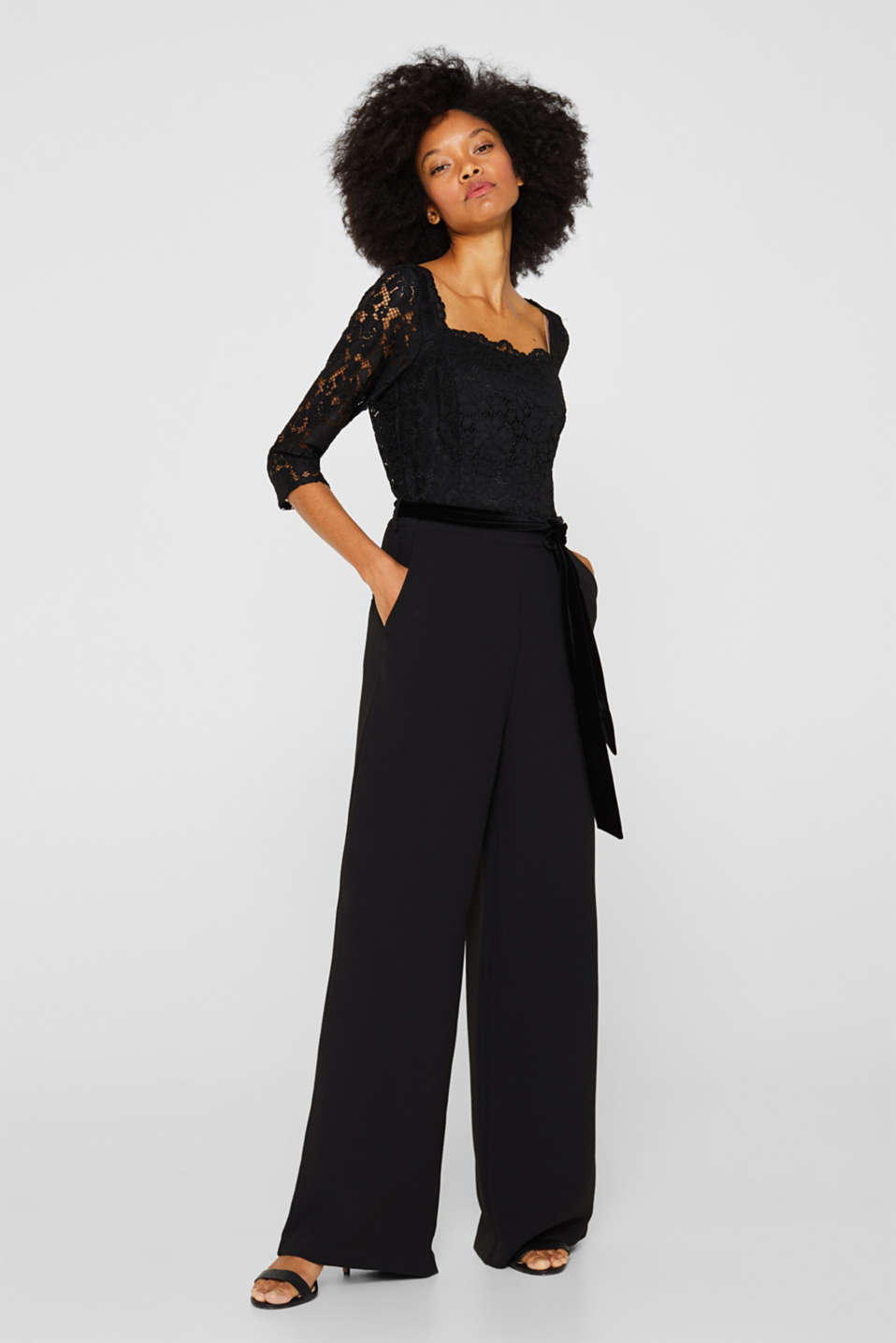 Wide leg jumpsuit with lace top, BLACK, detail image number 0