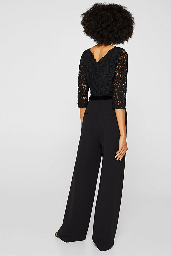 Wide leg jumpsuit with lace top, BLACK, detail image number 3