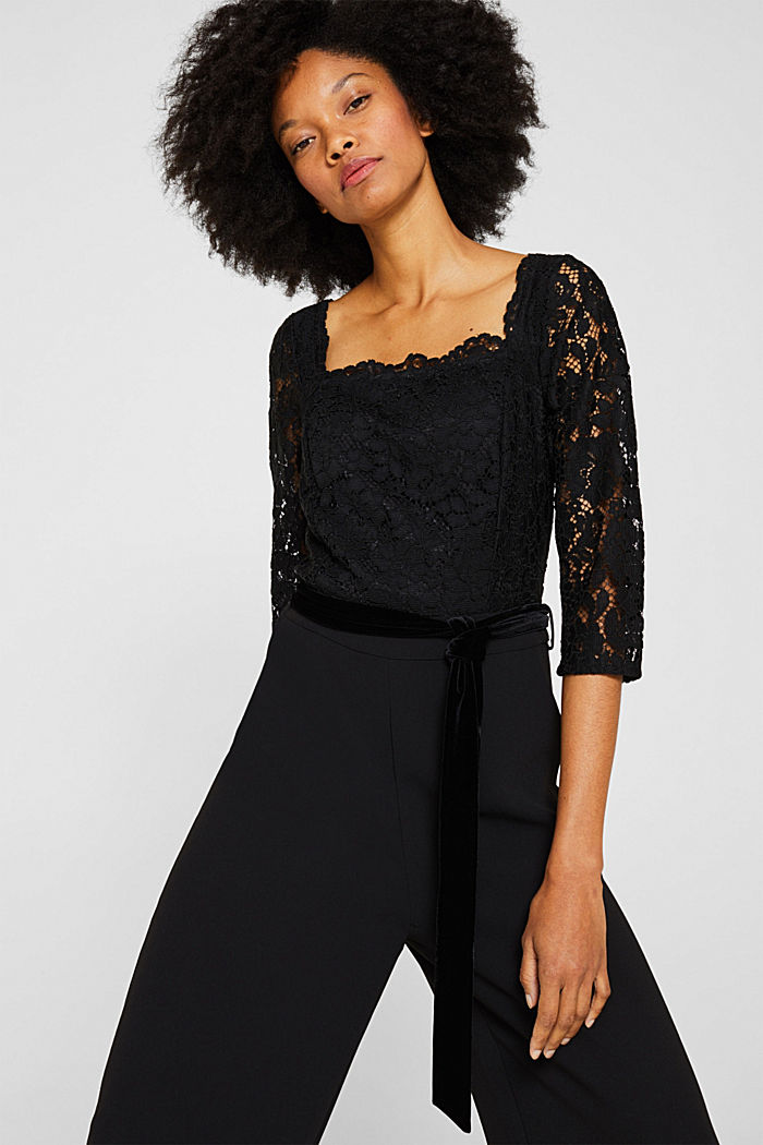 Wide leg jumpsuit with lace top, BLACK, detail image number 6