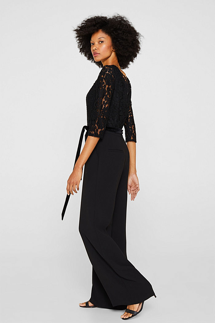 Wide leg jumpsuit with lace top, BLACK, detail image number 1