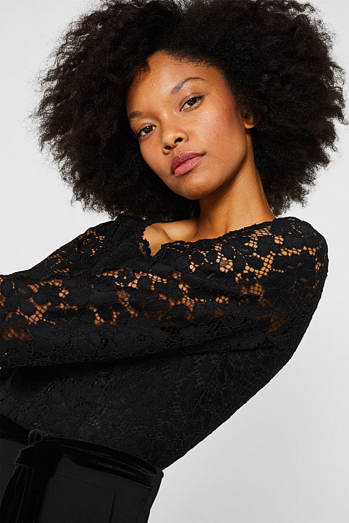 Wide leg jumpsuit with lace top, BLACK, detail image number 2