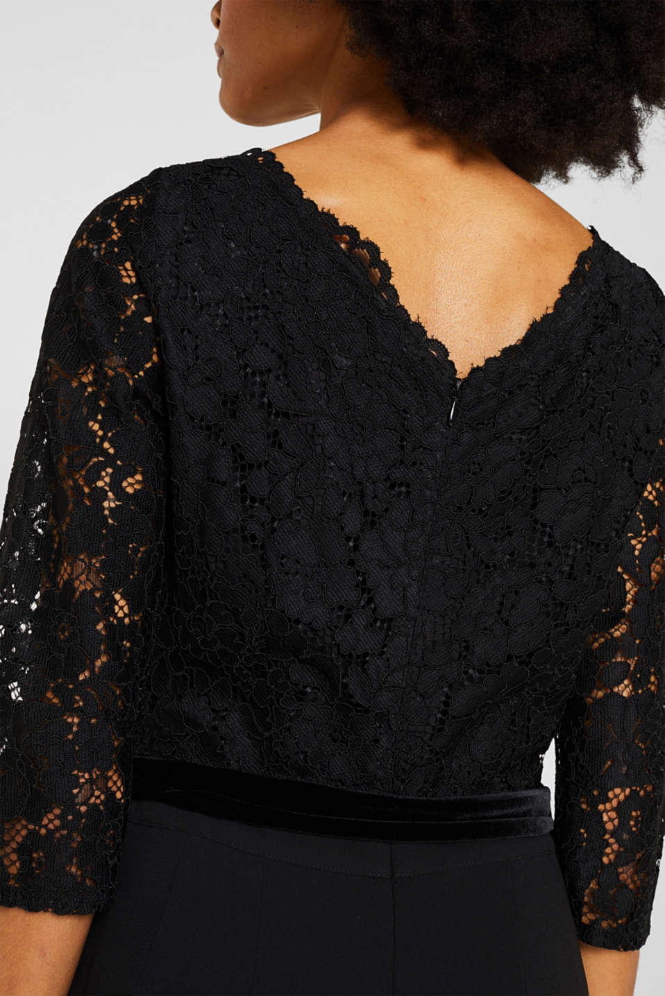 Wide leg jumpsuit with lace top, BLACK, detail image number 5