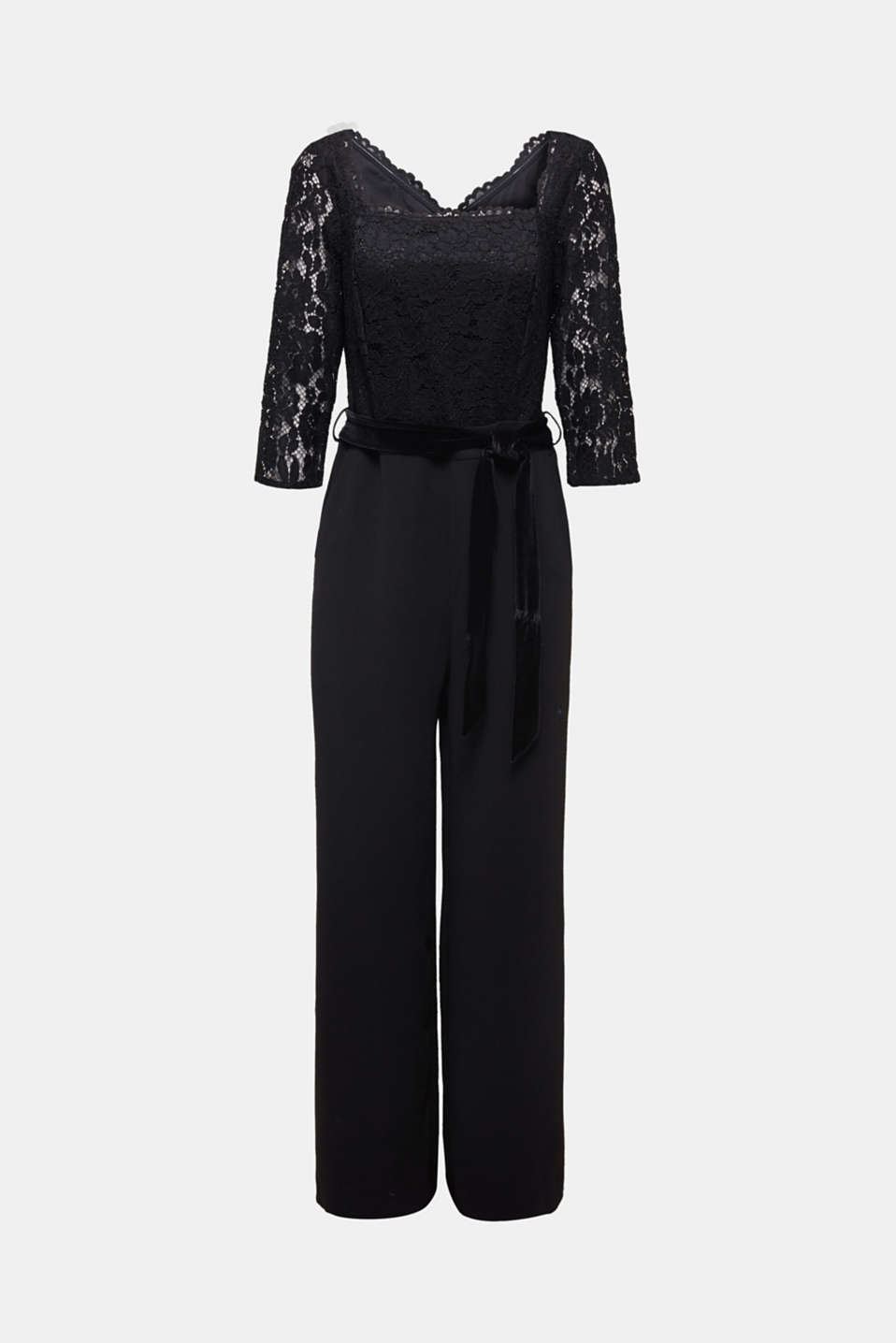 Wide leg jumpsuit with lace top, BLACK, detail image number 7