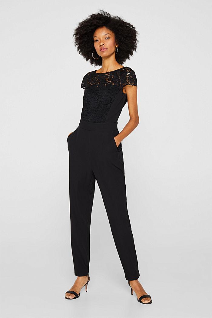 Figure-enhancing jumpsuit with lace, BLACK, detail image number 0