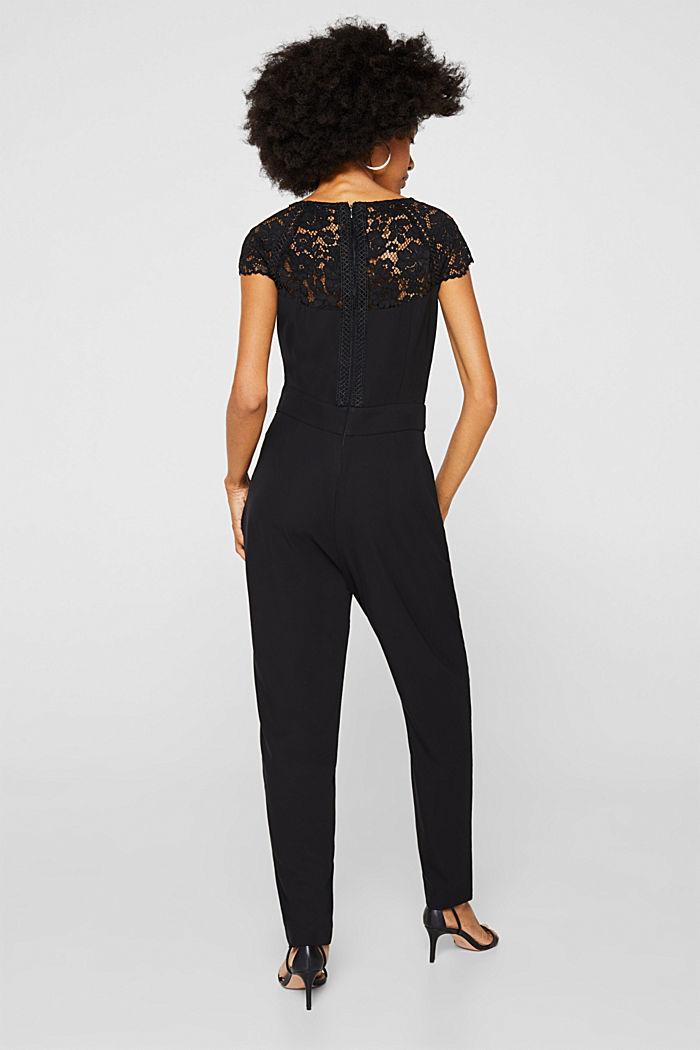Figure-enhancing jumpsuit with lace, BLACK, detail image number 3