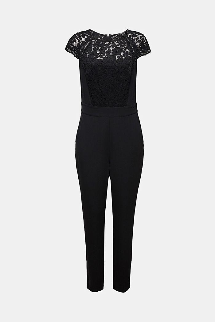 Figure-enhancing jumpsuit with lace, BLACK, detail image number 6