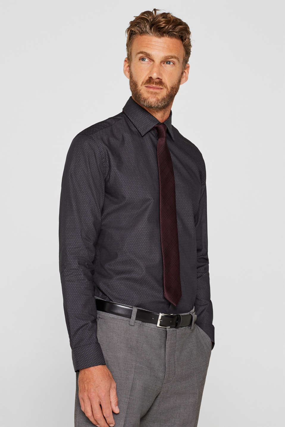 Easy-iron shirt in 100% cotton, ANTHRACITE, detail image number 0