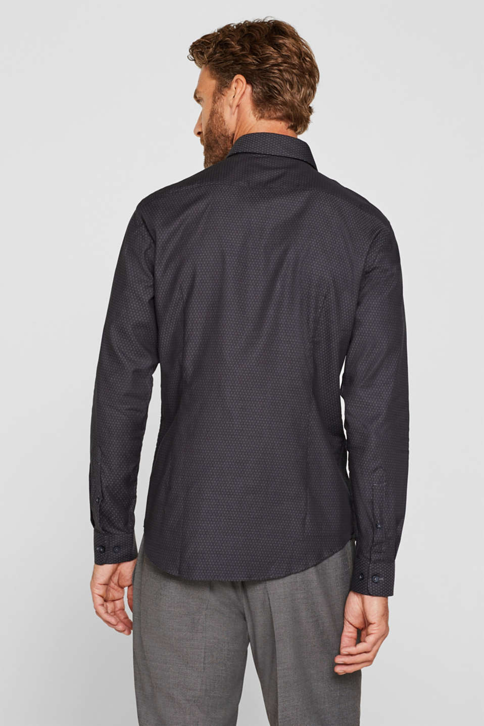 Easy-iron shirt in 100% cotton, ANTHRACITE, detail image number 3