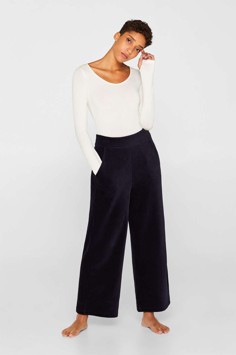 Cord-style stretch jersey trousers, NAVY, detail image number 1