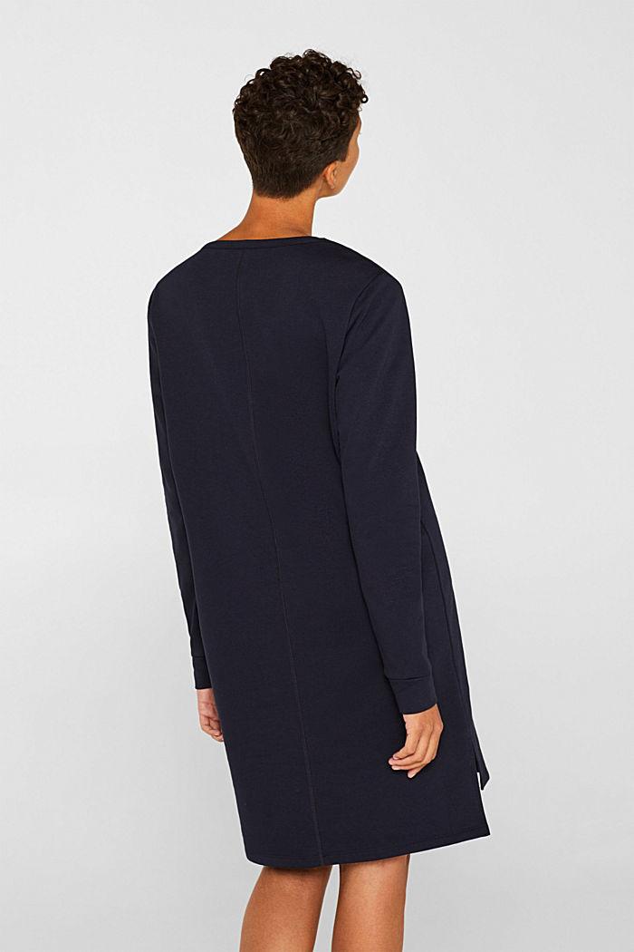 Sweatshirt-Kleid mit V-Ausschnitt, NAVY, detail image number 2