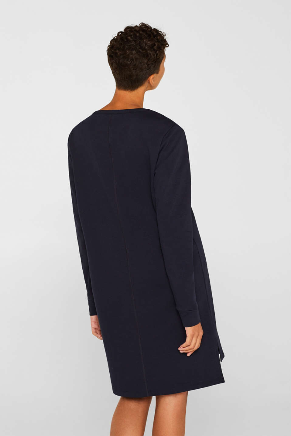 Sweatshirt dress with a V-neckline, NAVY, detail image number 2
