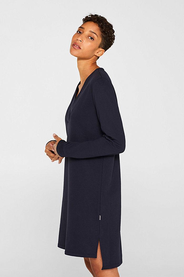 Sweatshirt-Kleid mit V-Ausschnitt, NAVY, detail image number 5