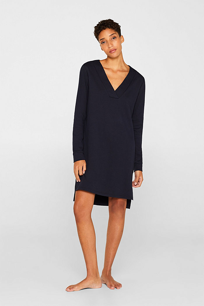 Sweatshirt-Kleid mit V-Ausschnitt, NAVY, detail image number 1