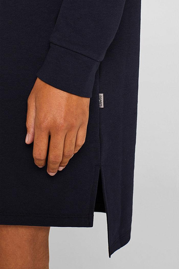 Sweatshirt-Kleid mit V-Ausschnitt, NAVY, detail image number 3