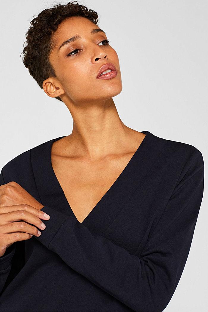 Sweatshirt-Kleid mit V-Ausschnitt, NAVY, detail image number 6