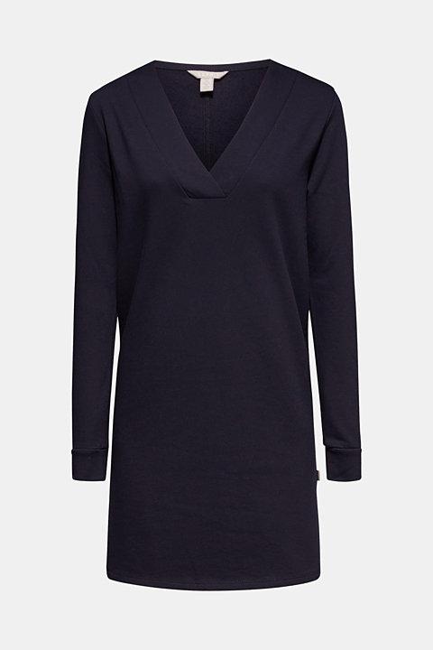 Sweatshirt dress with a V-neckline