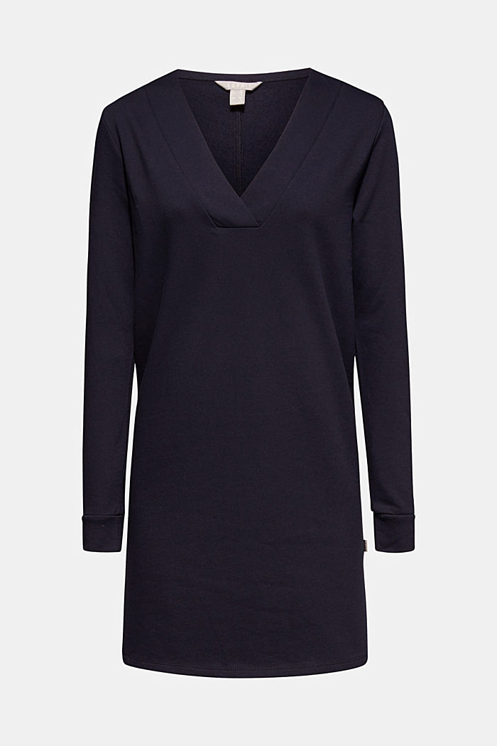 Sweatshirt dress with a V-neckline, NAVY, detail image number 0