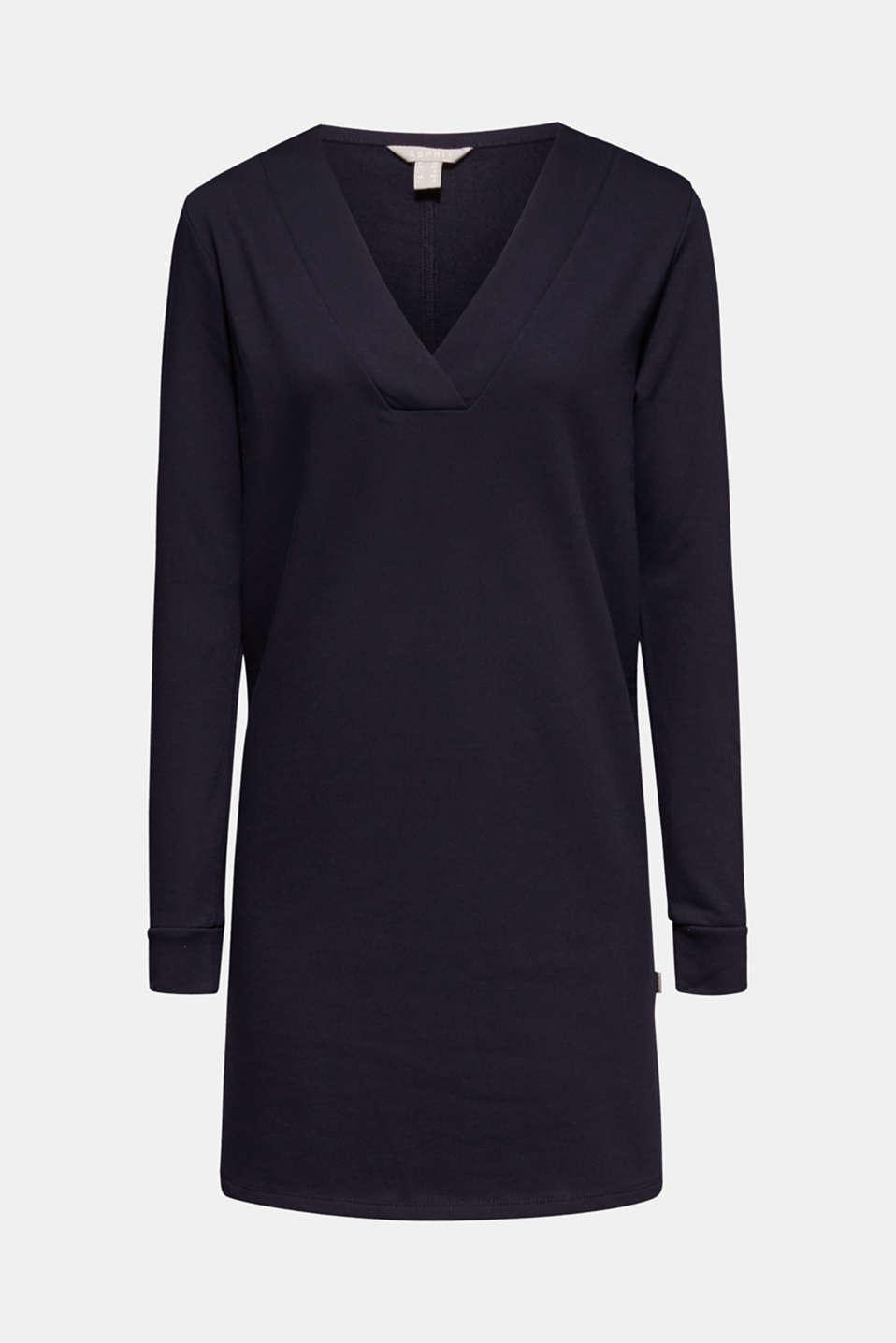 Sweatshirt dress with a V-neckline, NAVY, detail image number 7