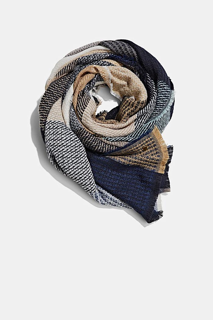 Recycelt: Web-Schal mit Karo, NAVY, detail image number 0