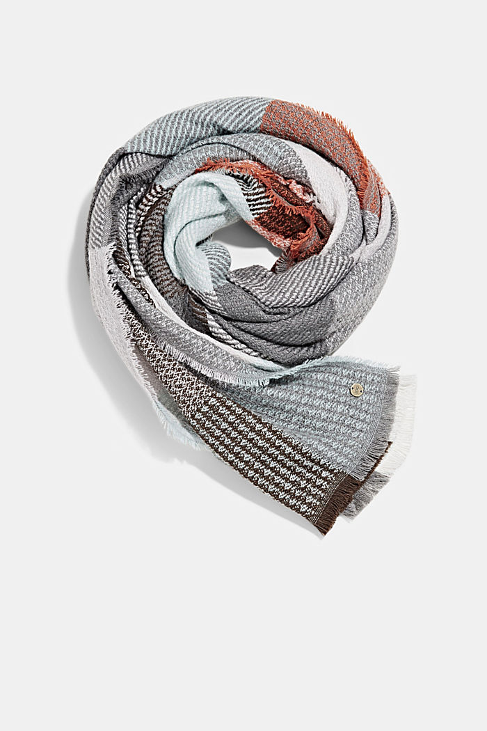 Recycled: woven scarf with a checked pattern, ORANGE, detail image number 0