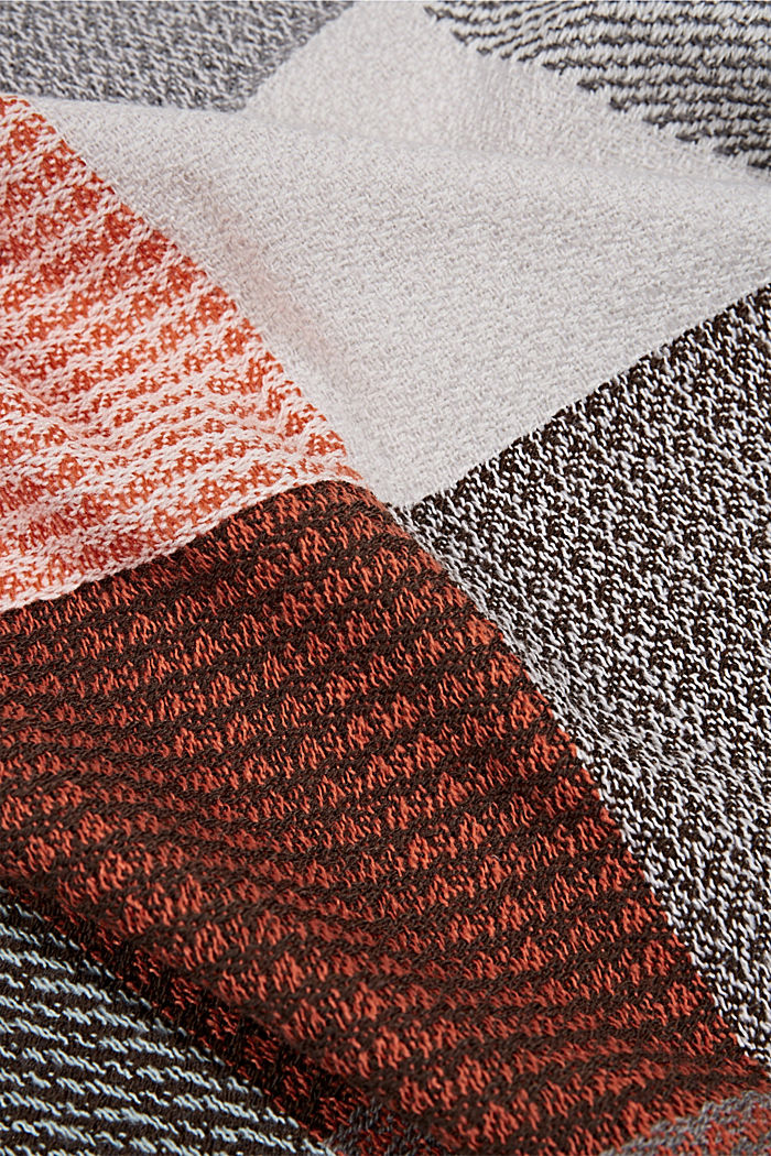 Recycled: woven scarf with a checked pattern, ORANGE, detail image number 2