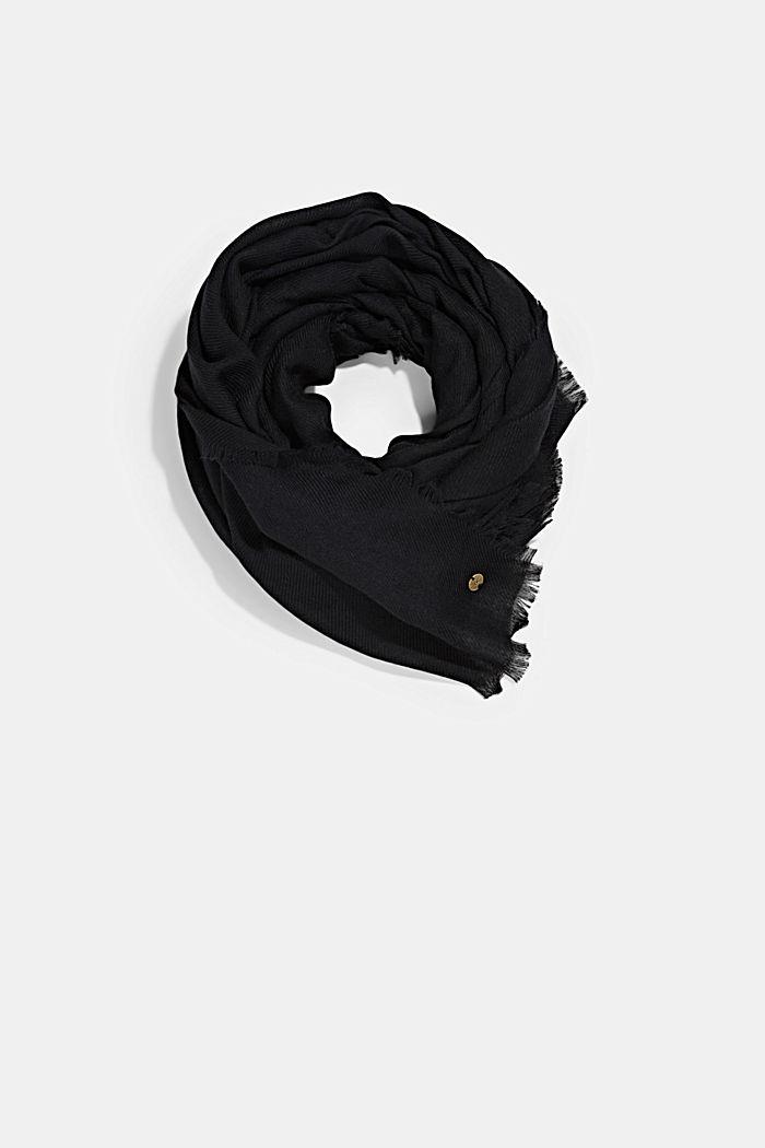 Gerecycled: geweven sjaal met franjes, BLACK, detail image number 0