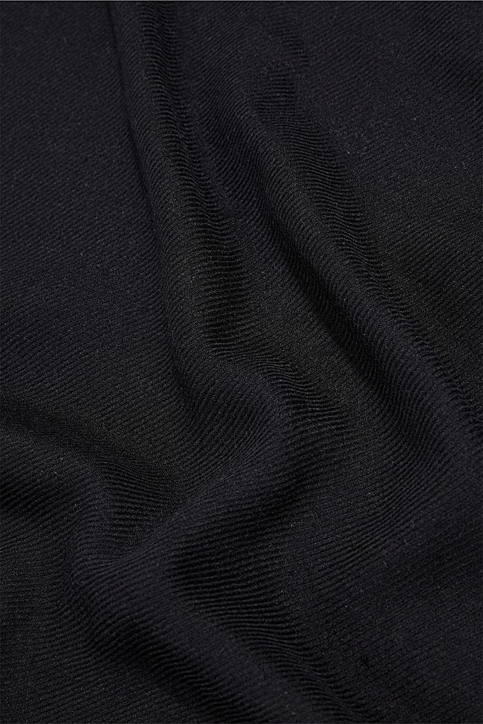 Gerecycled: geweven sjaal met franjes, BLACK, detail image number 2