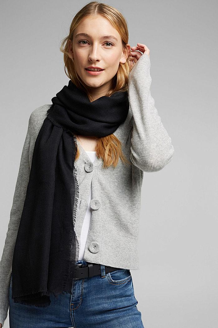 Gerecycled: geweven sjaal met franjes, BLACK, detail image number 1