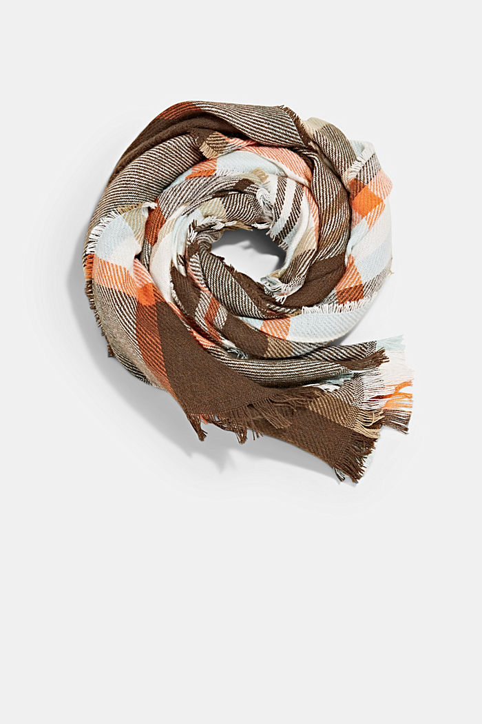 Recycled: Check woven scarf