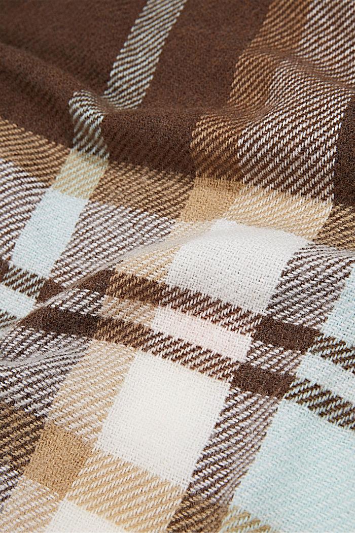 Gerecycled: geruite geweven sjaal, DARK BROWN, detail image number 2