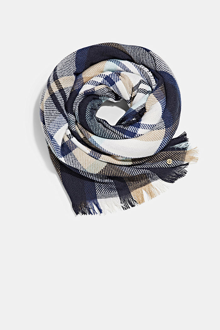 Recycled: Check woven scarf, NAVY, detail image number 0