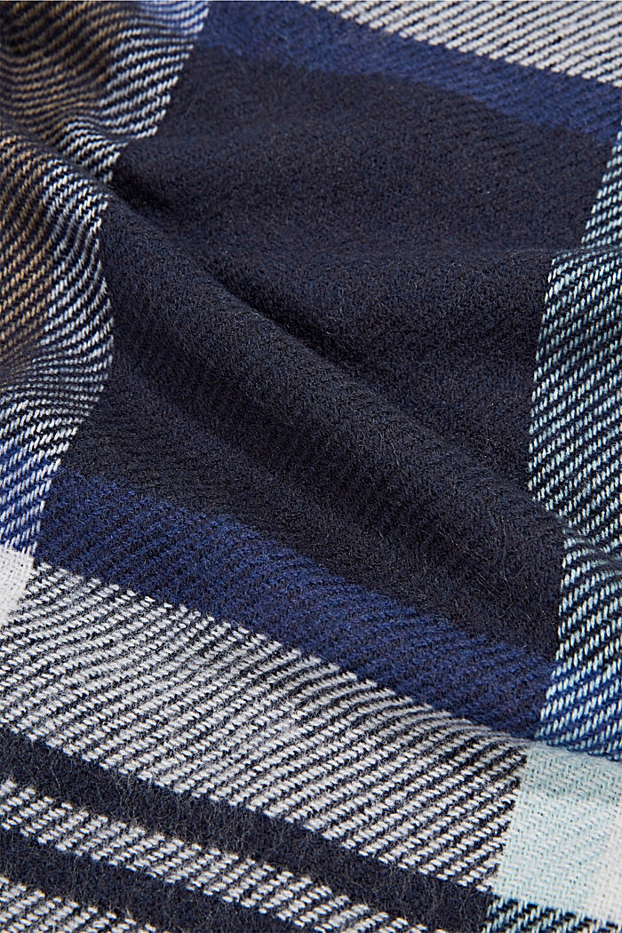 Recycled: Check woven scarf, NAVY, detail image number 2