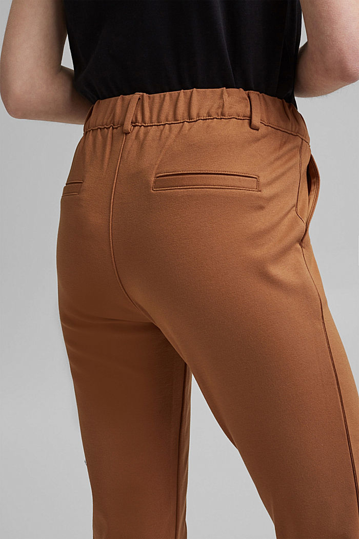 Tracksuit bottoms made of punto jersey, CARAMEL, detail image number 4